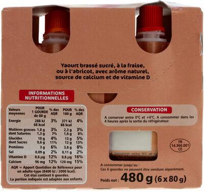 Gourdes de yaourt - 3 fraise - abricot - Voedingswaarden - fr
