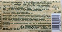 Carottes Bœuf Boulgour avec morceaux - Dès 12 mois BIO - Ingredients