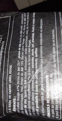 Pavé à base de farine Label Rouge - Ingrédients - fr