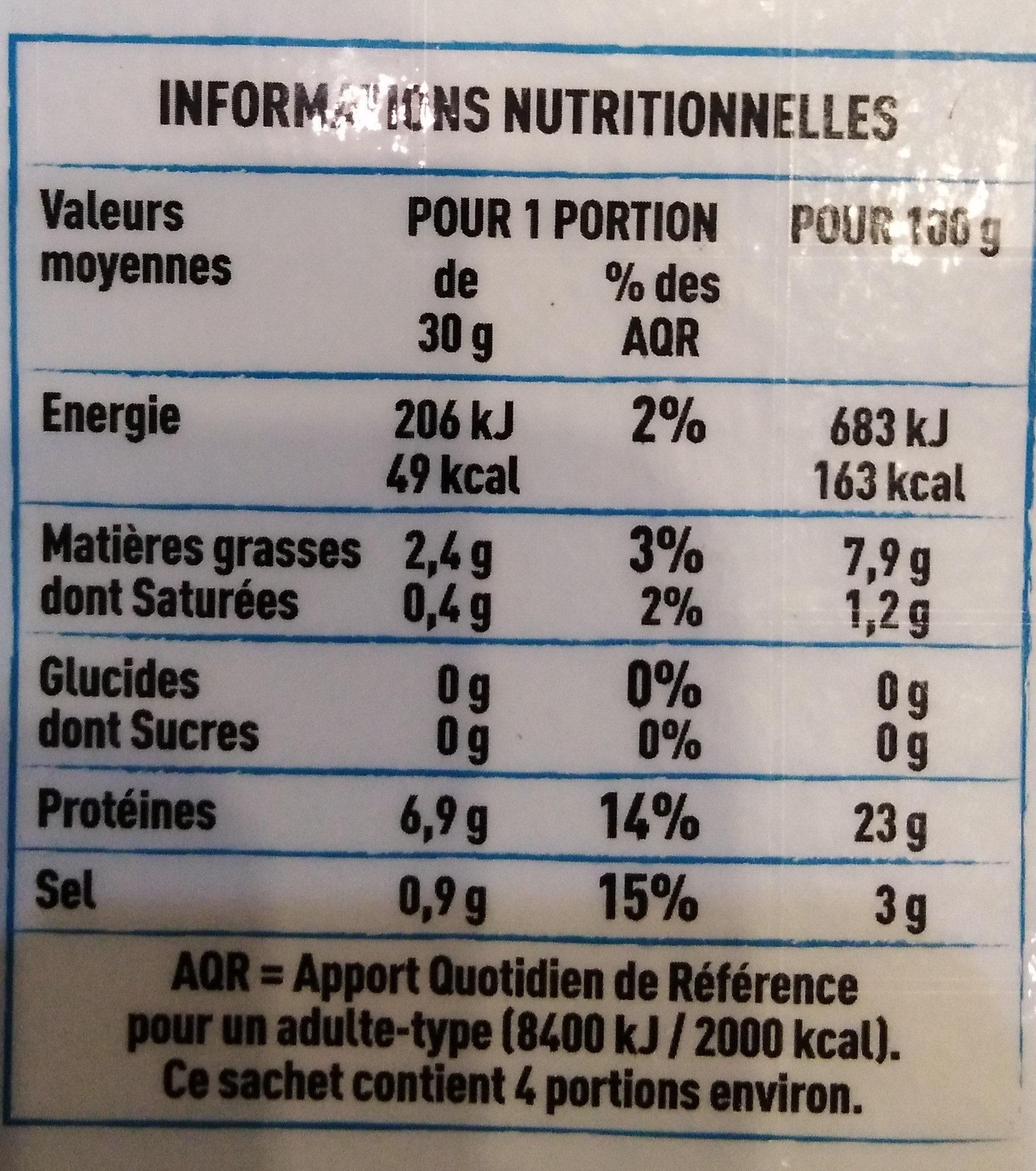Truite fumée élevée en eau douce en Bretagne - Voedingswaarden - fr