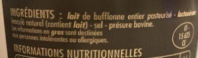 Mozzarella di buffala AOP Billes - Ingredients