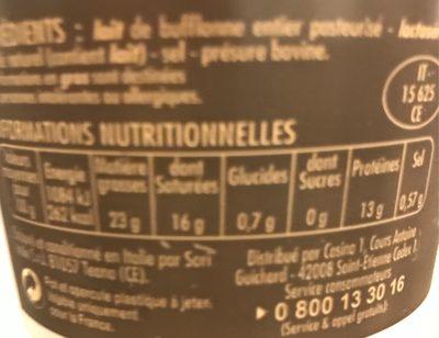 Mozzarella di buffala AOP Billes - Nutrition facts