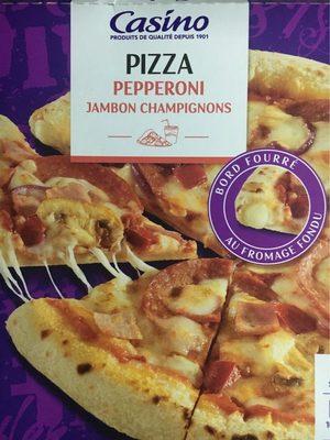 Pizza pepperoni jambon champignons avec bord fourré au fromage fondu - Produit - fr