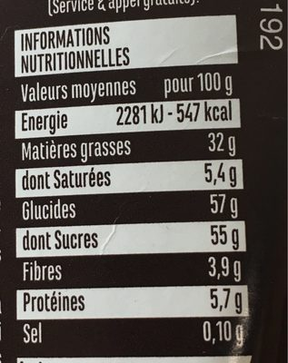 Noisette - Informations nutritionnelles - fr