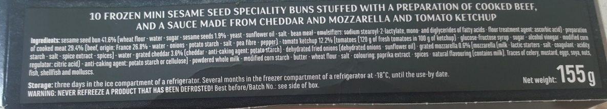 10 mini cheeseburgers - Ingredients