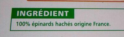 Epinards hachés - Ingrédients