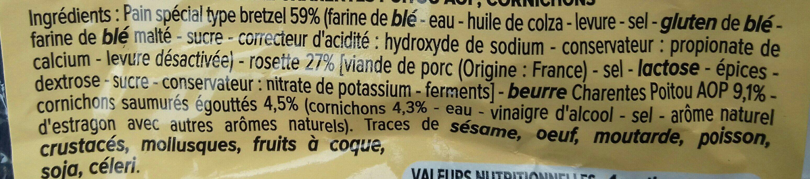 Moricette rosette beurre Charente-Poitou AOP cornichons - Ingrédients - fr