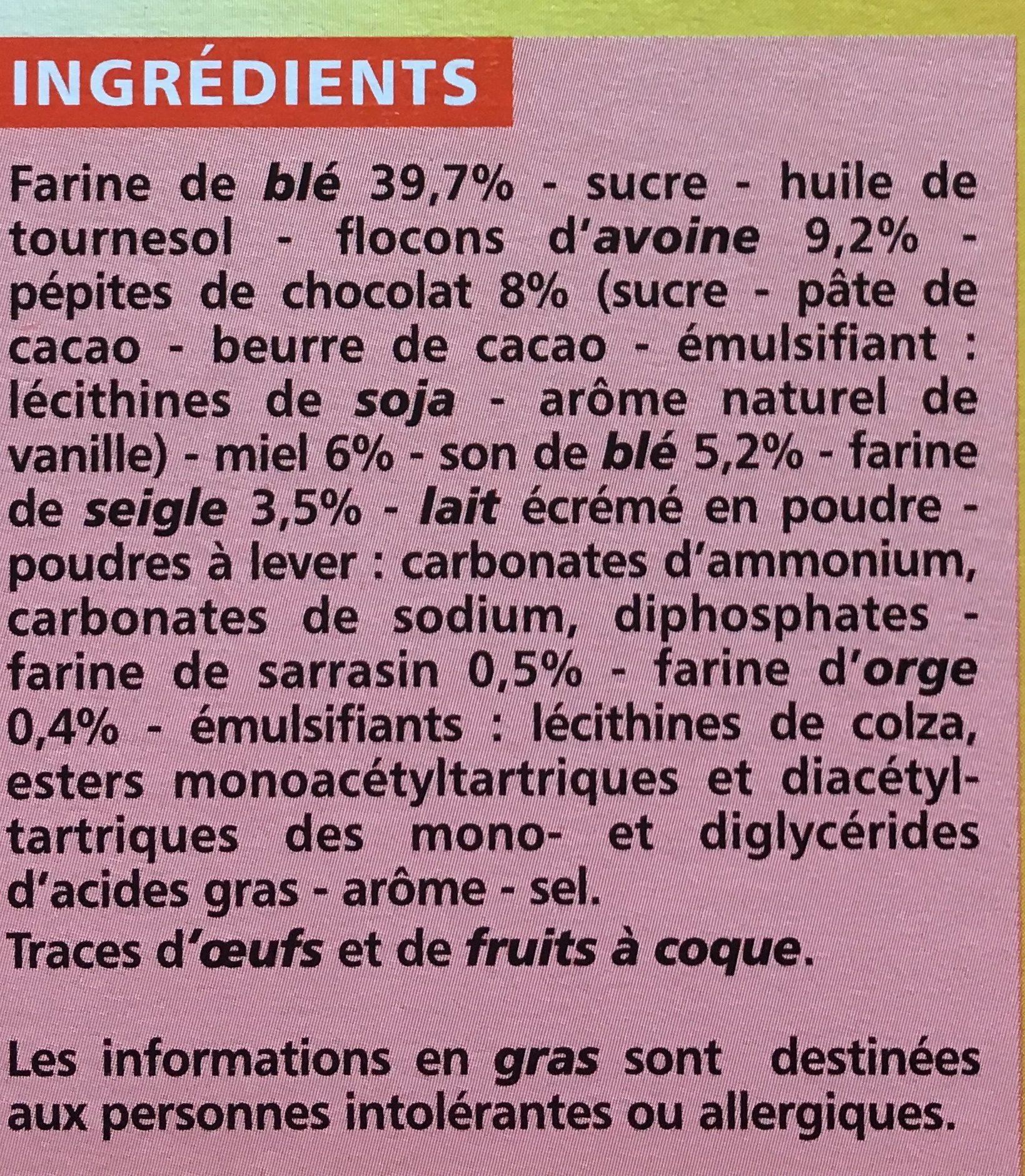 Biscuits matin miel pépites choco de chocolat - Ingrediënten