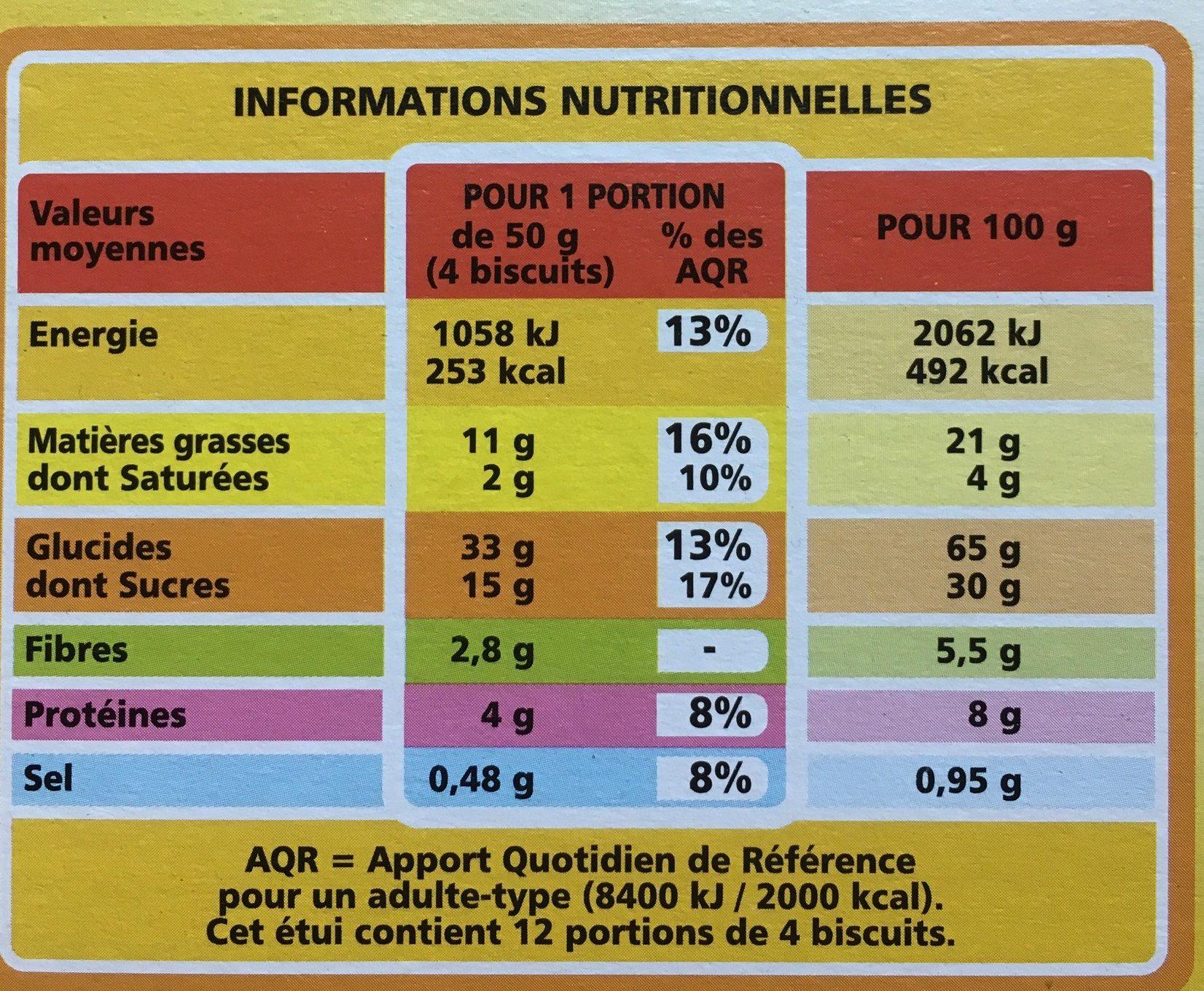 Biscuits matin miel pépites choco de chocolat - Voedingswaarden