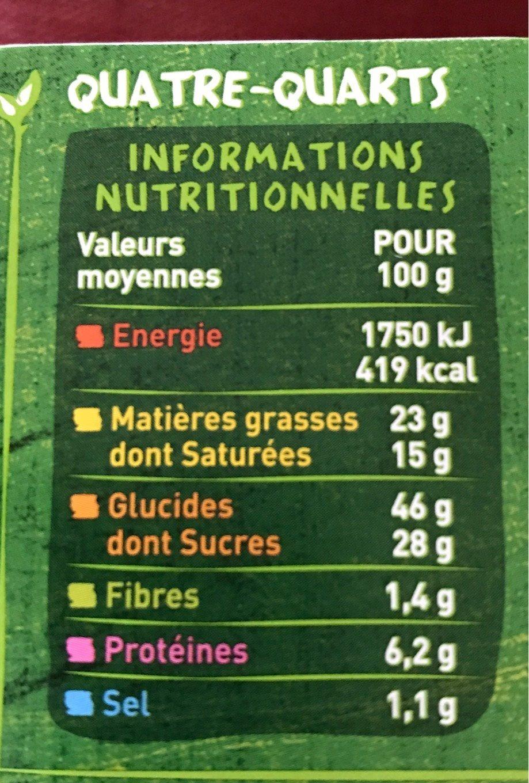 Quatre-quarts Bio - Voedingswaarden - fr