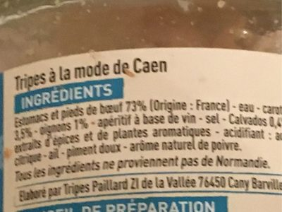 Tripes à la mode de Caen - Ingrediënten - fr