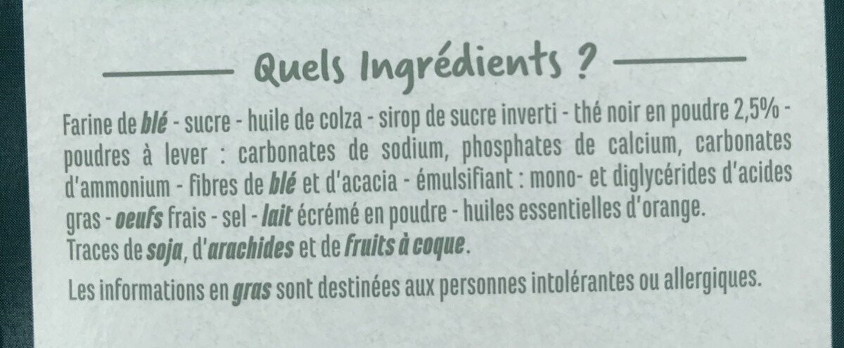 Galettes Thé noir saveur Orange - Ingrediënten