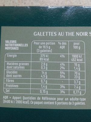 Galettes Thé noir saveur Orange - Voedingswaarden