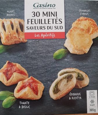 30 Mini feuilletés saveurs du Sud - Tomate & basilic, olives noires, épinards & ricotta, fromages fondus - Produit