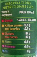 Sirop de Fraise bio au sucre de canne - Informations nutritionnelles