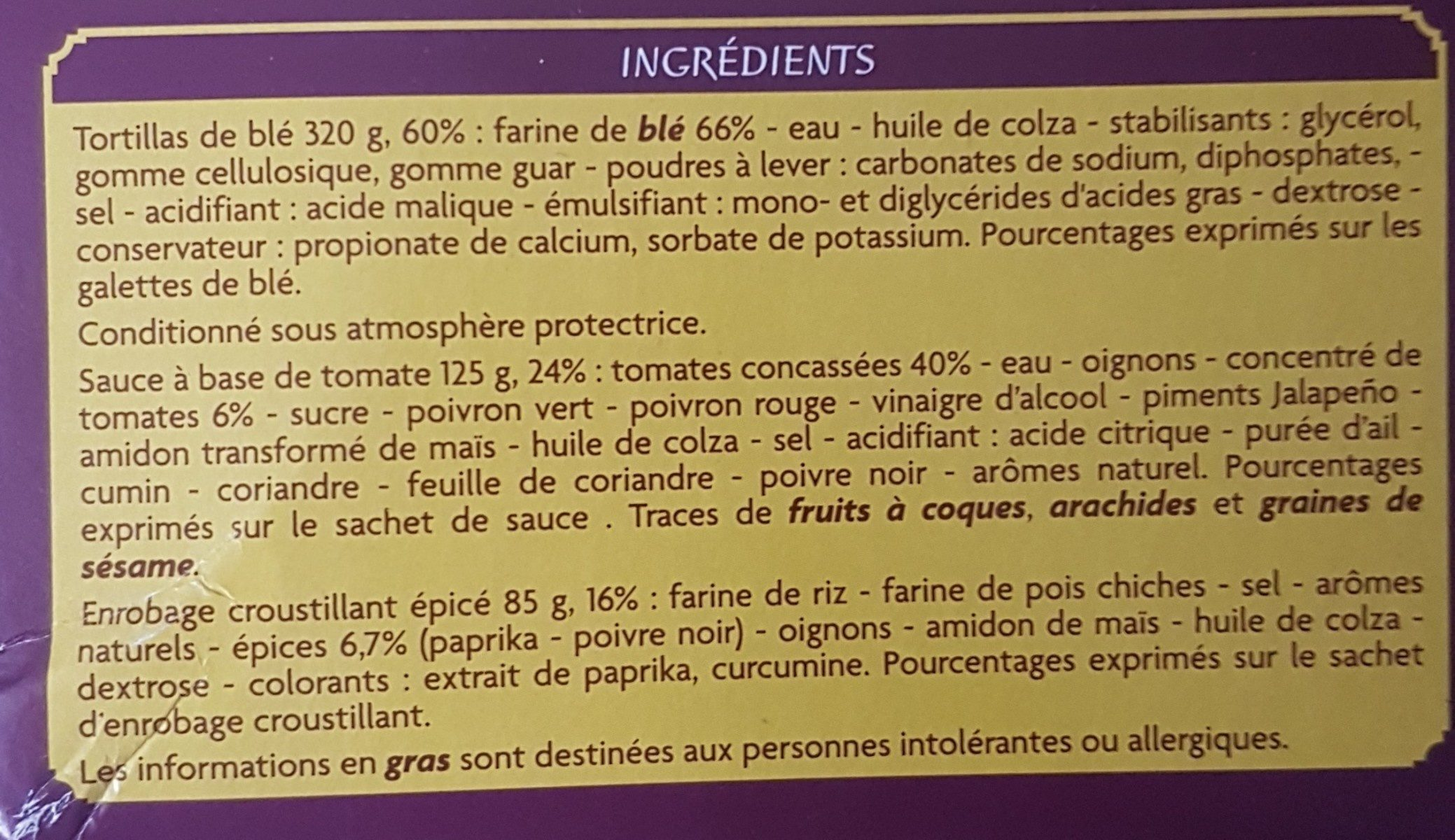 Kit crunchy fajitas - Ingredients