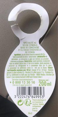 Spécialité au jus de citron et à l'huile essentielle - Ingrédients - fr