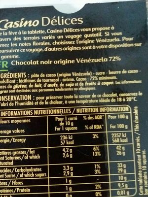 Chocolat noir 72% Vénézuela - Ingredients