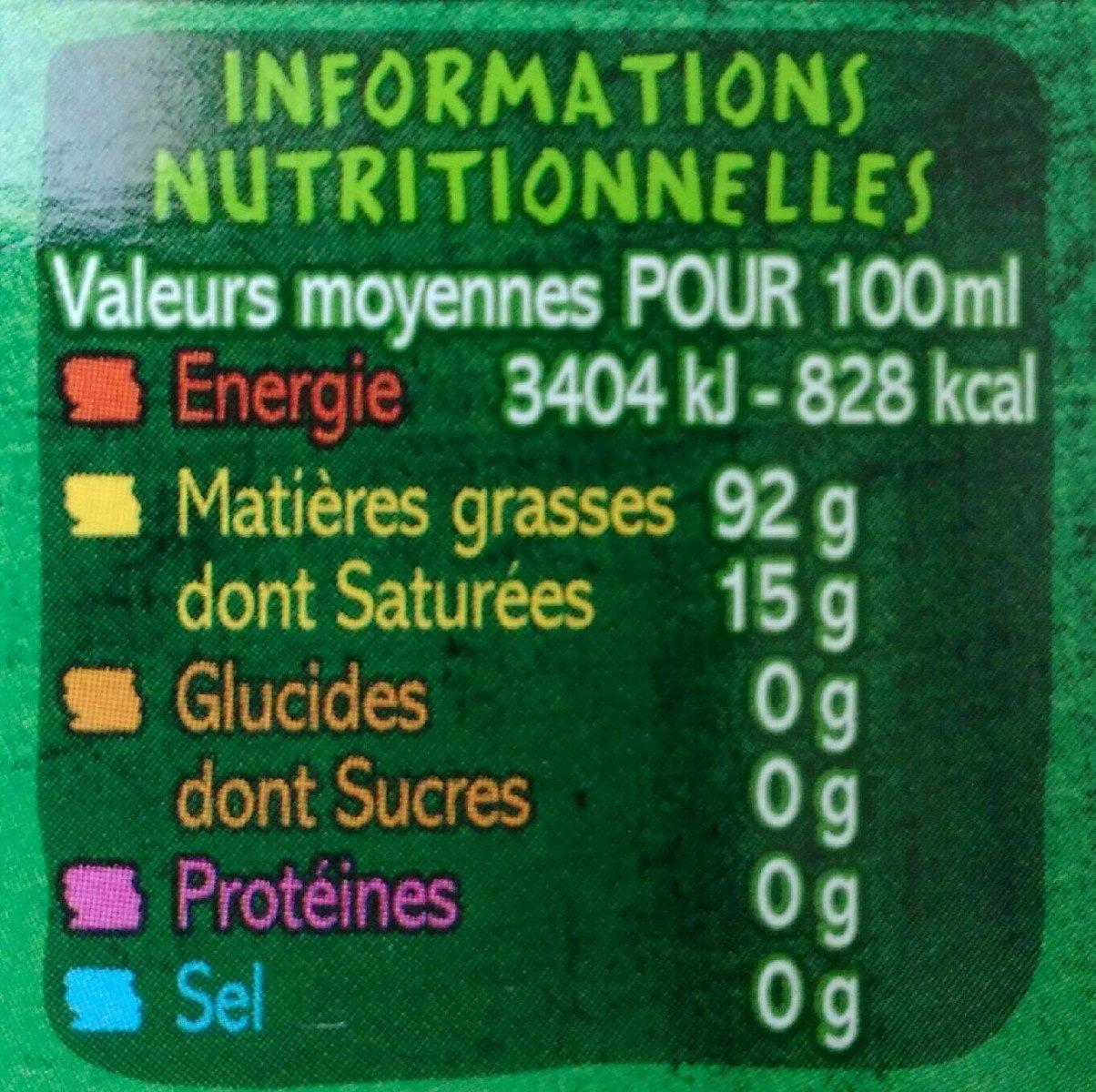 Huile vierge de sésame bio - Informations nutritionnelles
