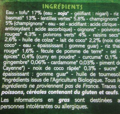 Tofu à l'indienne, riz basmati et lentilles - Ingredients