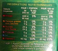 100% Pur Jus Clémentine Orange Pomme Raisin blanc - Nutrition facts
