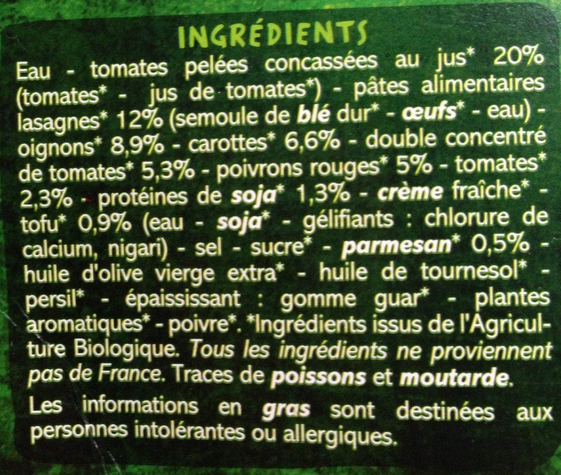 Lasagnes soja et légumes sauce tomate et légumes - Ingrediënten - fr