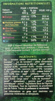 Lasagnes soja et légumes sauce tomate et légumes - Voedingswaarden - fr