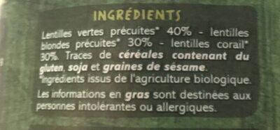 Trio de lentilles BIO - Ingrediënten - fr