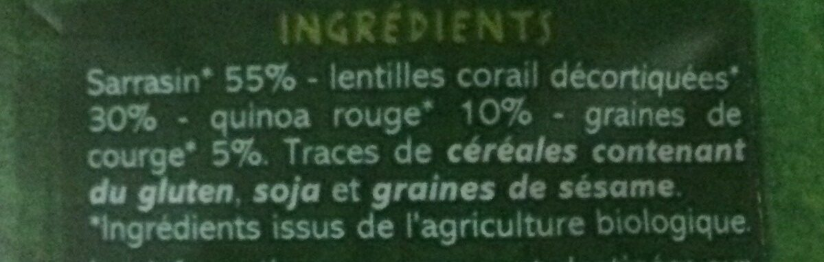 Mélange sarrasin lentille quinoa graine de courge - Ingrediënten - fr