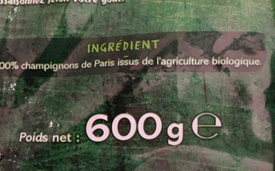 Champignons de Paris émincés bio - Ingrédients