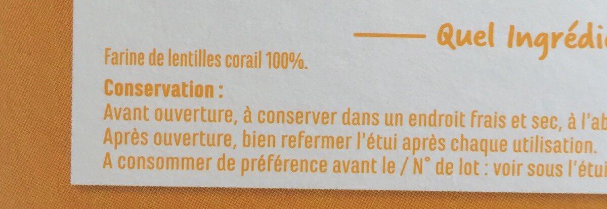 Penne lentilles corail - Ingrédients - fr