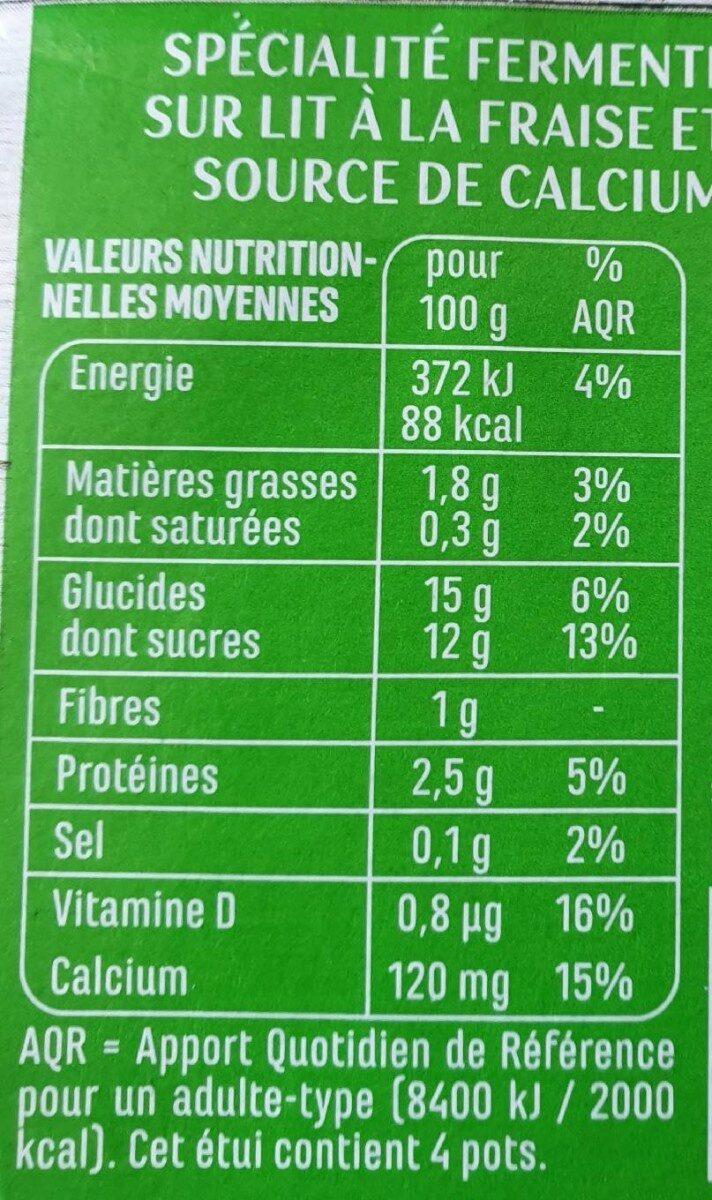 Spécialité au soja sur lit à la fraise - Valori nutrizionali - fr