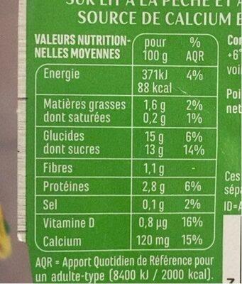 Spécialité au soja sur lit à la pêche - Valori nutrizionali - fr