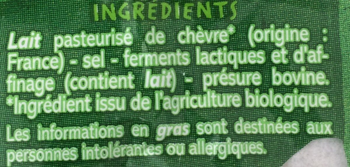 Bûche de chèvre - Ingredients