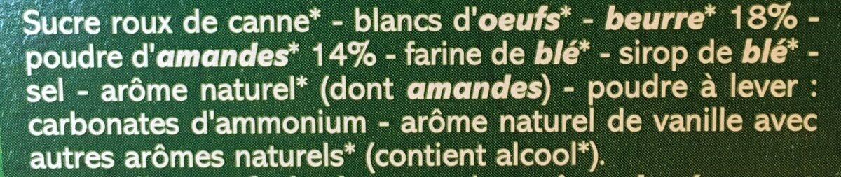 Financiers aux amandes bio - Ingrédients - fr