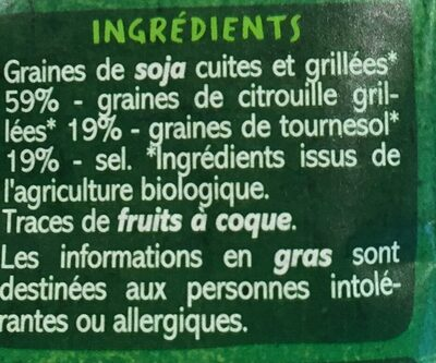 Snack mix Graines de soja, citrouille, tournesol bio - Ingredients