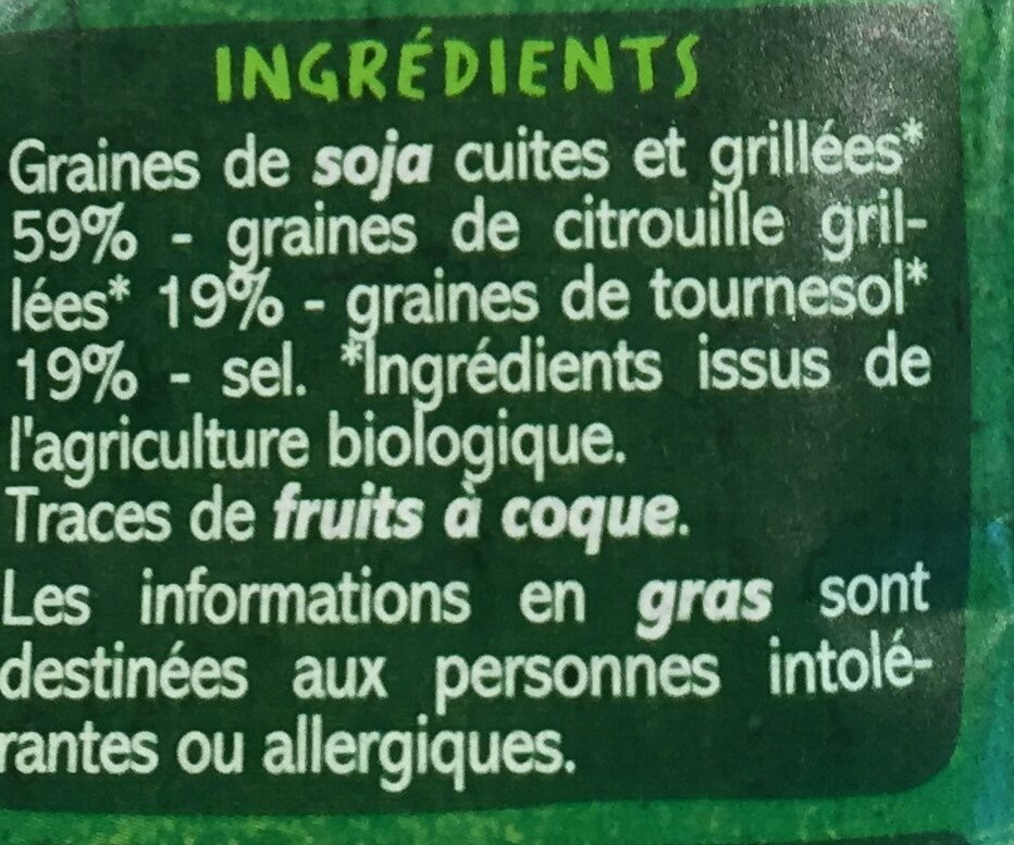 Mélange Graines Soja Citrouille Tournesol - Ingredients