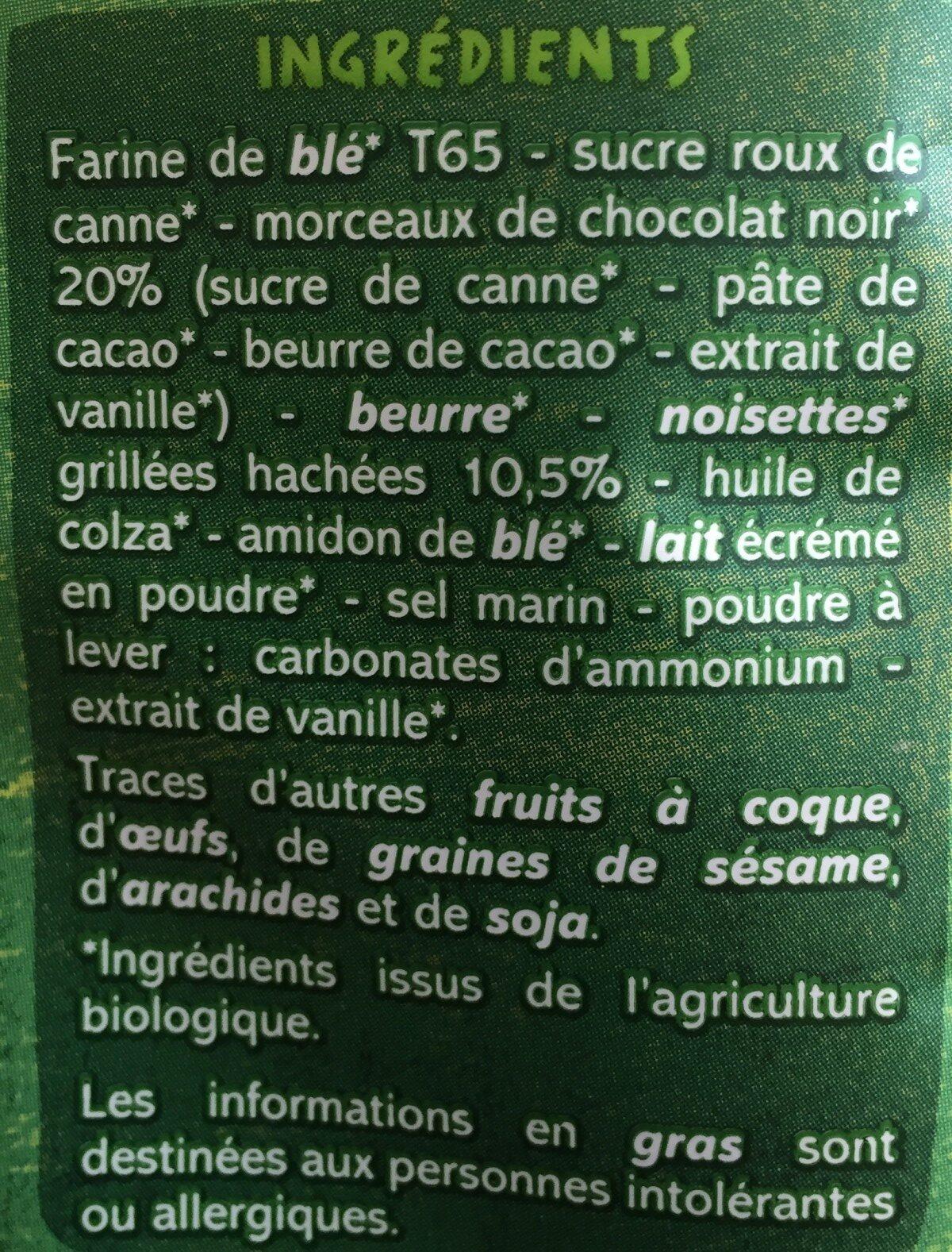 Maxi Cookies chocolat noir et noisettes BIO - Ingrediënten - fr