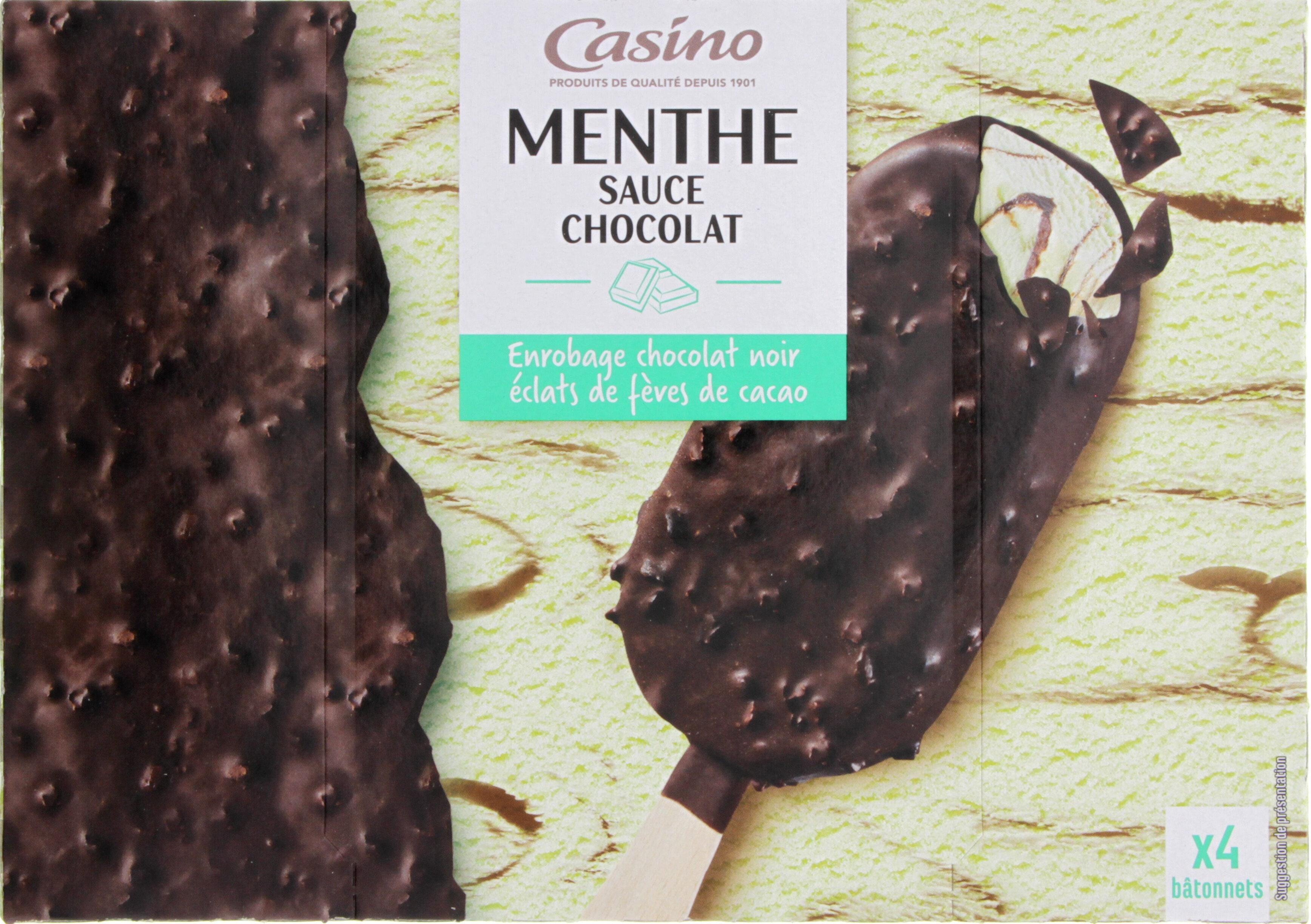 Maxi bâtonnets Menthe sauce chocolat enrobage chocolat noir éclats de fèves de cacao x4 - Produit