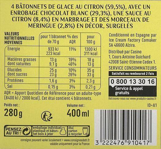 Maxi bâtonnets Citron meringué sauce citron enrobage chocolat blanc avec éclats de meringue x4 - Informations nutritionnelles