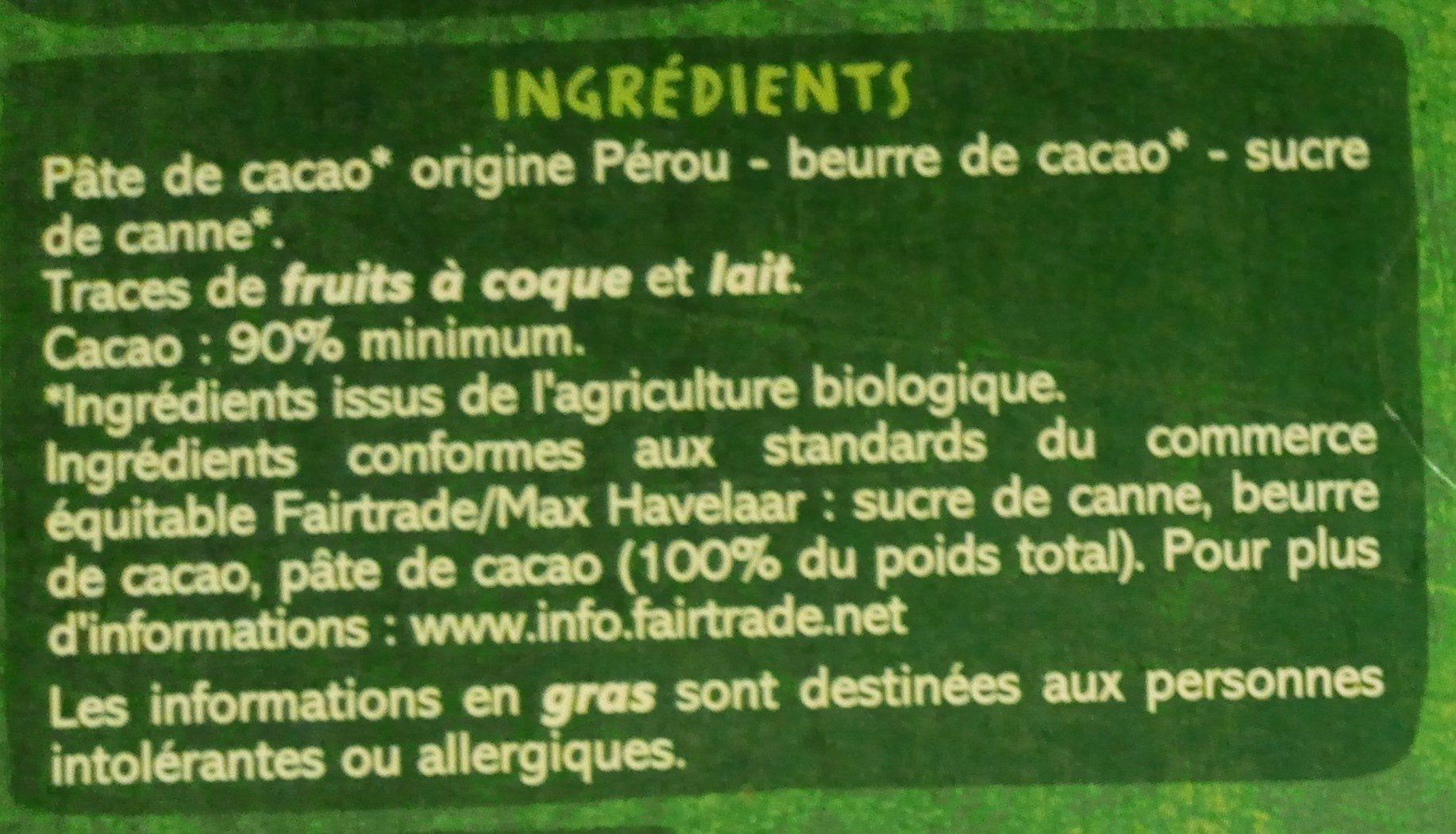 Chocolat noir 90% bio origine Pérou - Ingrédients - fr