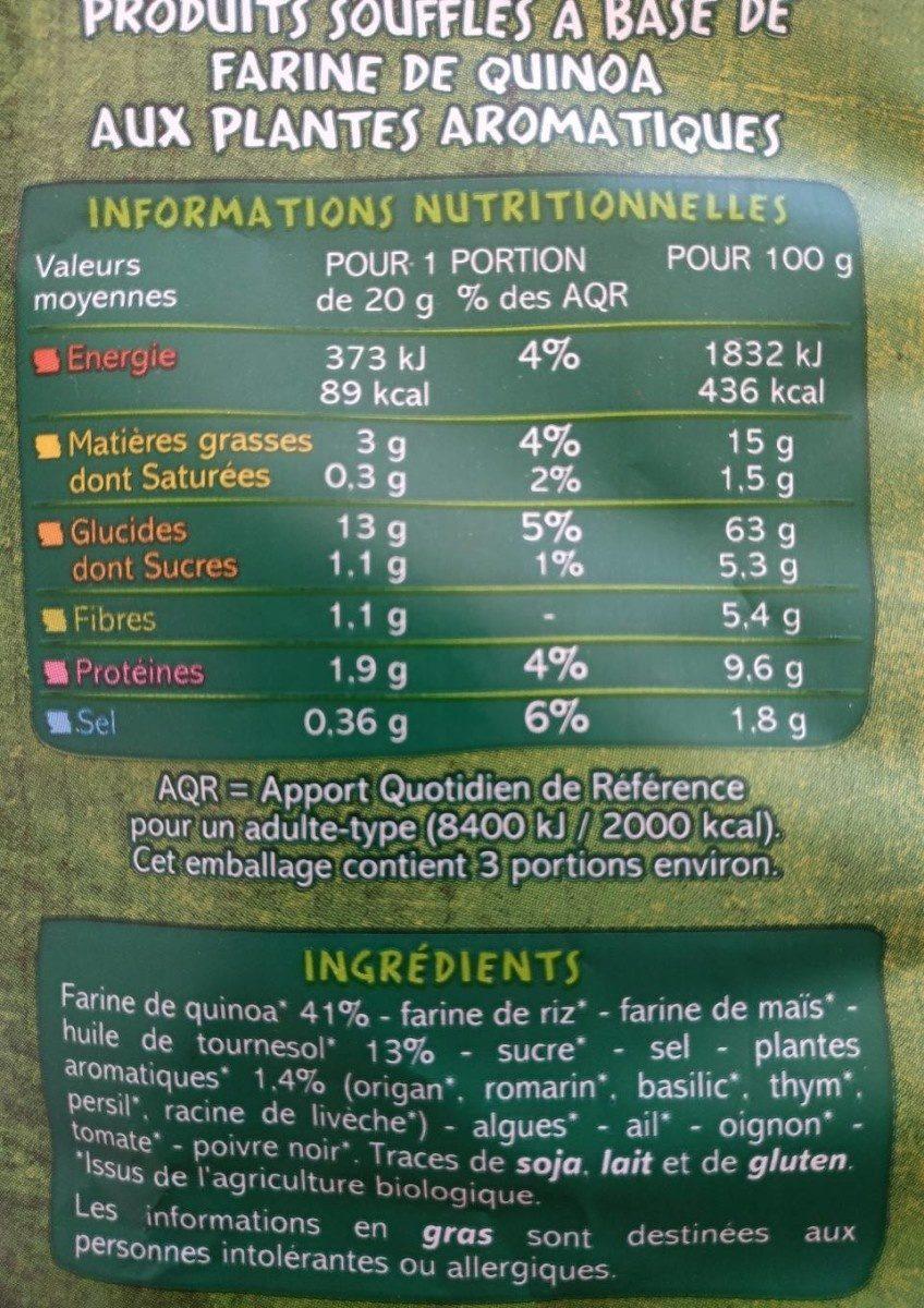 Poppes Quinoa herbes de provence BIO - Nutrition facts