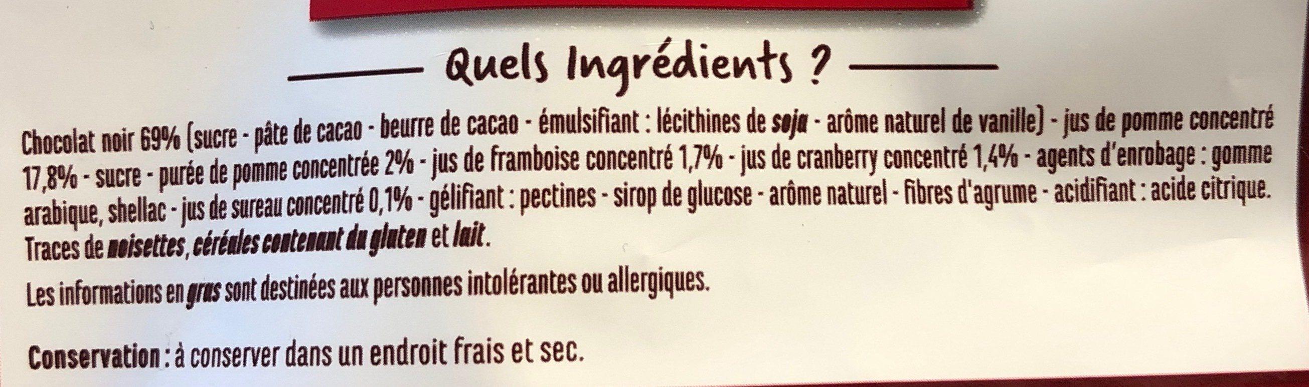 Les gourmandises chocolat noir et fruits - Framboise et cranberries - Ingredients