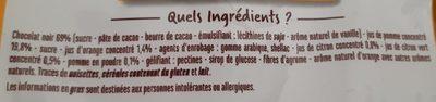 Les gourmandises chocolat noir et fruit - Orange et citron/citron vert - Ingrediënten
