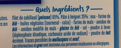Filets de Cabillaud fish'n chipd - Ingredients