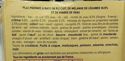 Blanquette de veau riz et mélange de légumes - Inhaltsstoffe - fr