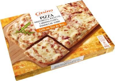 Pizza mozzarella, raclette, lardons fumés, pommes de terre - cuite au feu de bois - Produit - fr