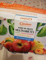 Purée de fruits multivariétés Pomme - Pomme-Framboise - Pomme-Banane - Pomme-Pêche-Abricot sans sucres ajoutés - Product