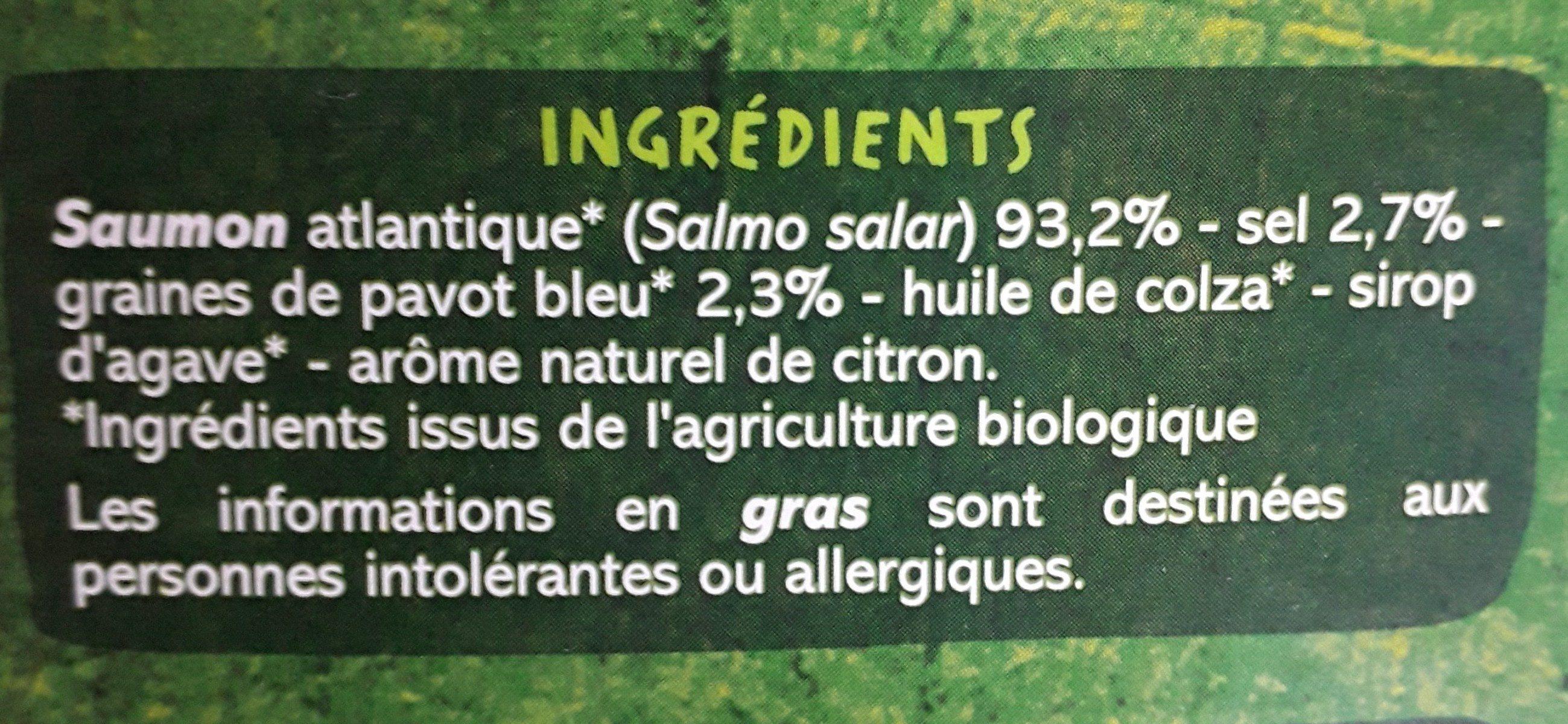 Emincés de saumon fumé BIO au pavot - Ingrediënten - fr