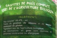 Galettes de maïs complet Bio - Ingrediënten